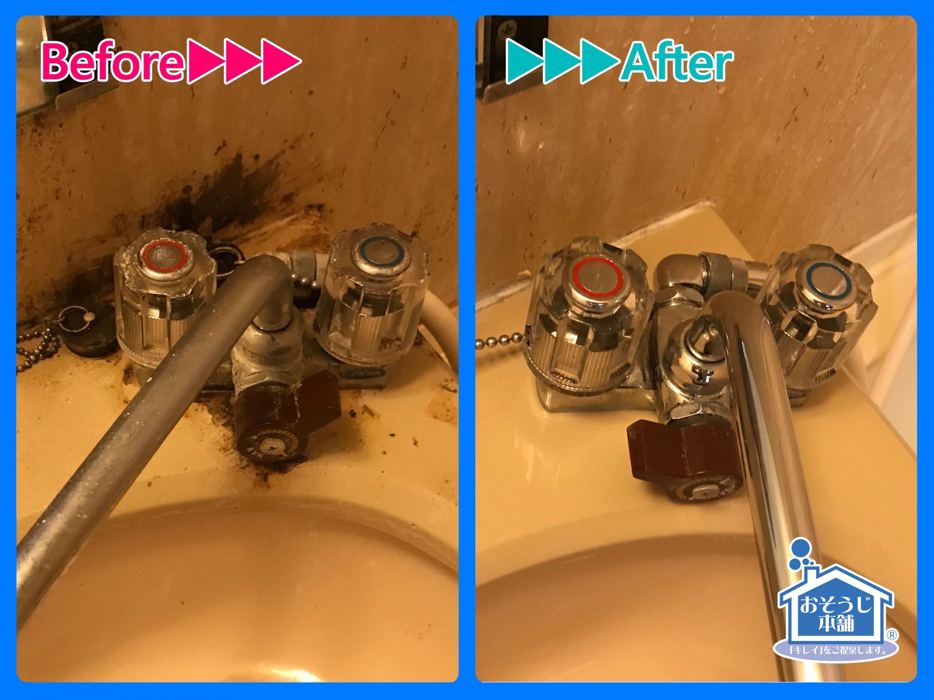 水栓金具の隙間もしっかり洗浄