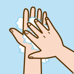 ①流水で手を濡らし、石鹸を手に取り、手のひらをよくこすります。