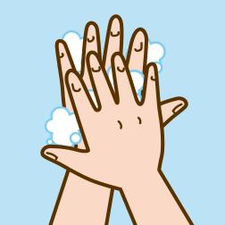 ②手の甲を伸ばすように洗います。