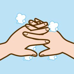 ④指の間を洗います。※指先や指の間は洗い残しやすい部分ですので、十分に洗うようにしましょう。