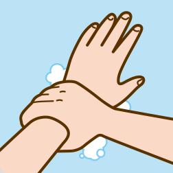⑥手首も忘れず洗います。